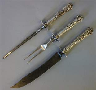 3-Piece Sterling Carving Set, Kings Ptn, R Wallace