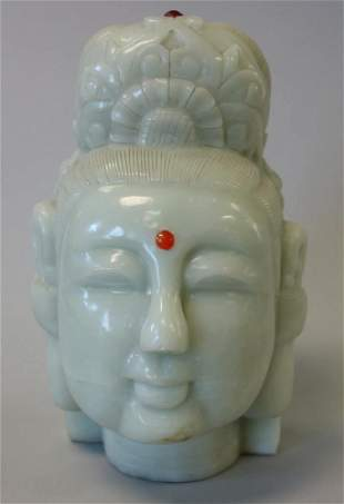 Chinese Carved Stone Head of Goddess Guanyin