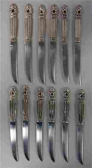 "Godinger Set of 12 Silverplate ""Acorn"" Ptn Knives"