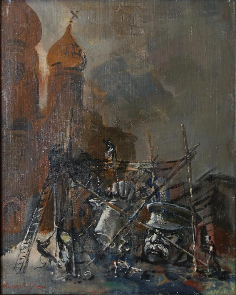 Kenneth Green (1905-1986) Stalin Monument Toppled