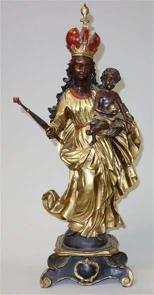 19thc Gilt Bronze Madonna & Child