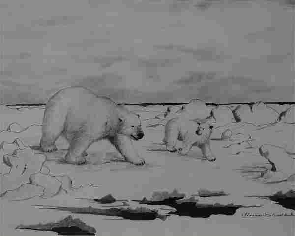 Florence Nupok Malewotkuk (1906-1971) Polar Bears