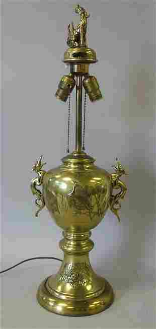 Chinese Brass Urn Lamp, Dragon Side Handles