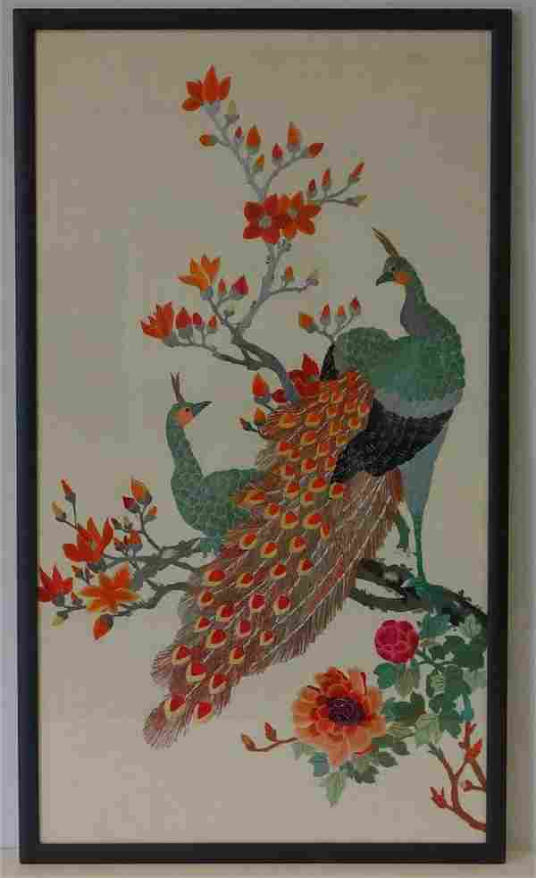 Chinese Needlework Picture, Peacock Motif