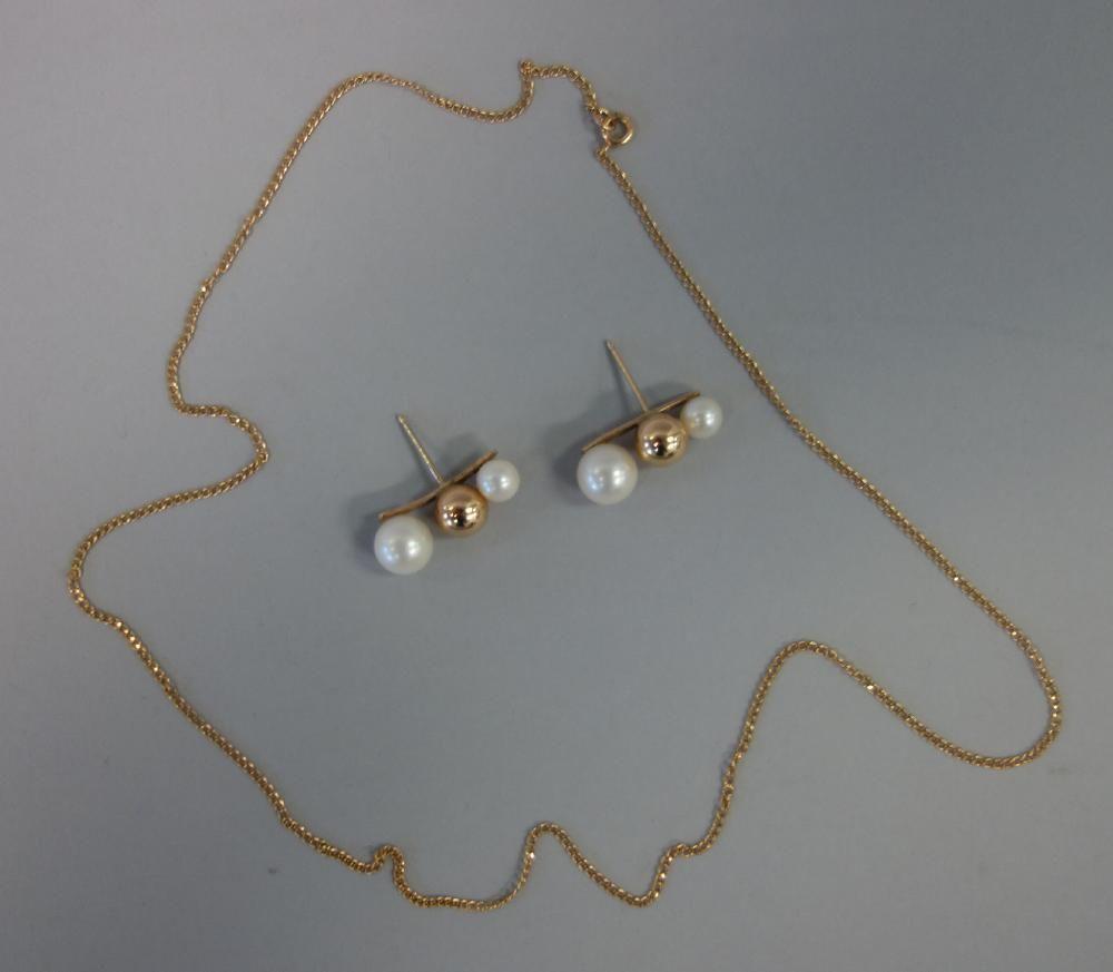 14K Gold Necklace & 14K Gold & Pearl Earrings