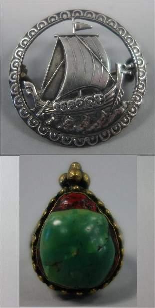 Norwegian Silver Viking Ship Pin & Scarab Ring