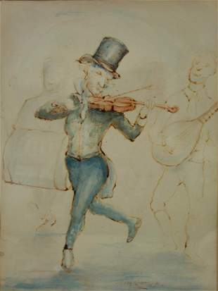 W H Ratcliffe Watercolor, The Irish Fiddle Player