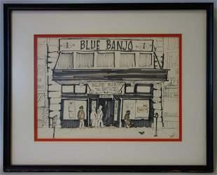 The Blue Banjo Yakima, Mixed Media, Signed Root