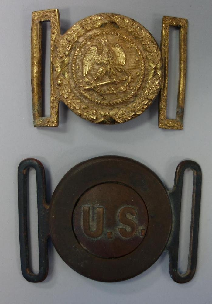 2 Antique US Army Belt Buckles
