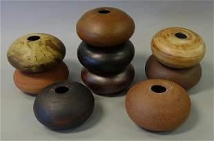 9 Stoneware Spheres, Manner of David Shaner