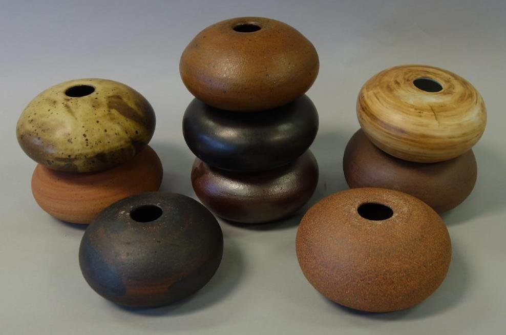 9 Stoneware Spheres, Manner of David Shaner