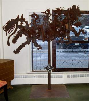 Mark Bulwinkle (b-1946) Steel Sculpture, Cat Ride