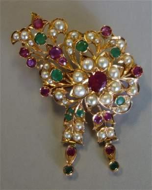 Persian Ruby, Emerald & Pearl 14K Gold Brooch