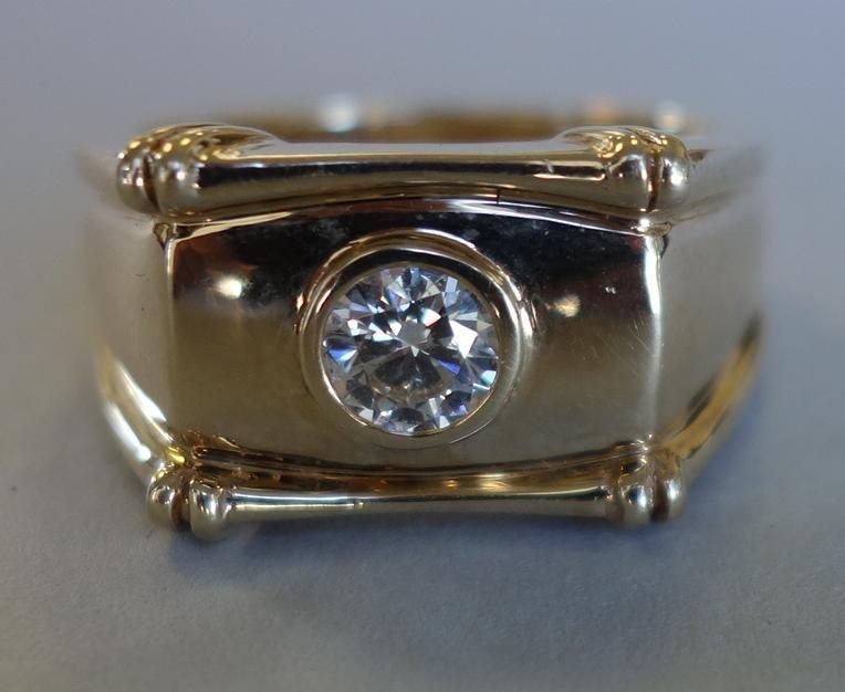 Men's Diamond & 14K Gold Ring, .71 Carat Solitaire