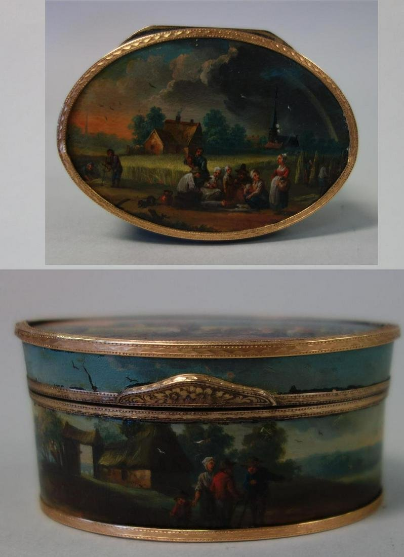 18thc Vernis Martin Snuff Box, Hand-painted