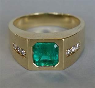Men's Emerald & Diamond 18K Gold Ring