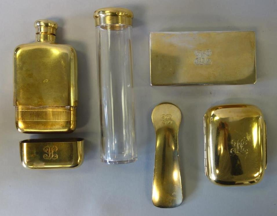 English Gilt Sterling Vanity Set, Alfred Clark