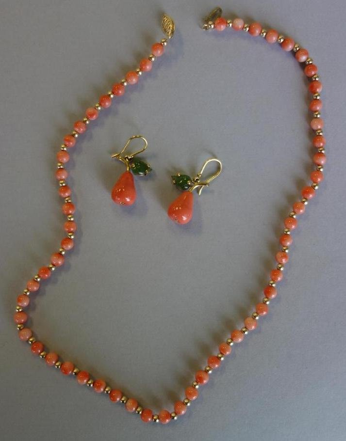 Coral & Gold Bead Necklace + Coral & Jade Earrings