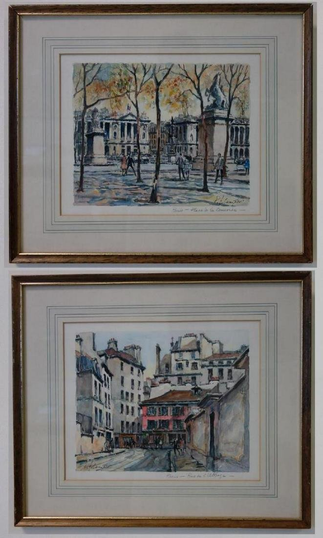 Pierre Eugene Cambier (1914-2000) 2 Watercolors