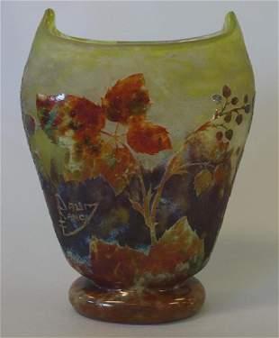 Daum Nancy Cameo Glass Vase, Blackberry Motif