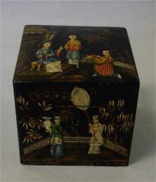 19thc Chinoiserie Lacquer Tea Caddy, Regency Era