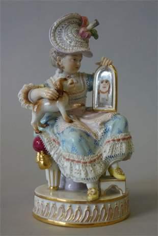 Meissen Porcelain Figurine, Girl With Dog & Mirror