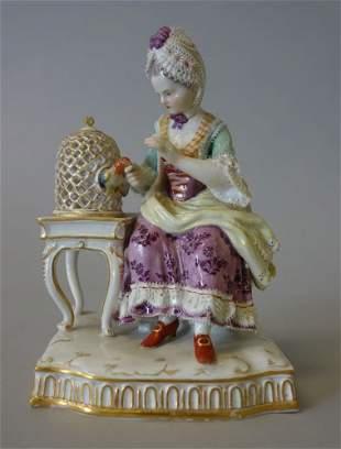 Meissen Porcelain Figurine Touch, Girl & Bird Cage