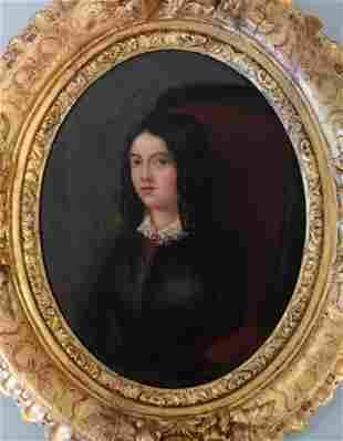 19thc French Portrait Miniature of Amelie Goubert