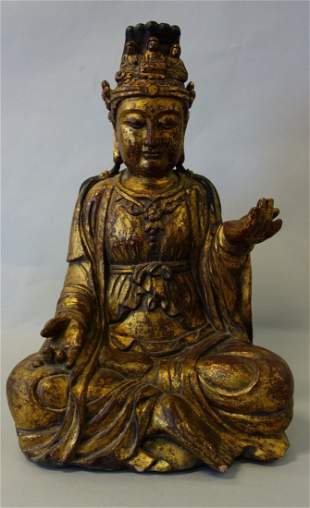 Chinese Carved & Painted Wood Buddha Figure