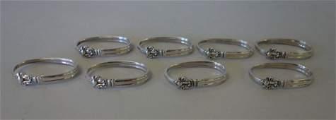 Georg Jensen Sterling Acorn Napkin Rings, Set of 8