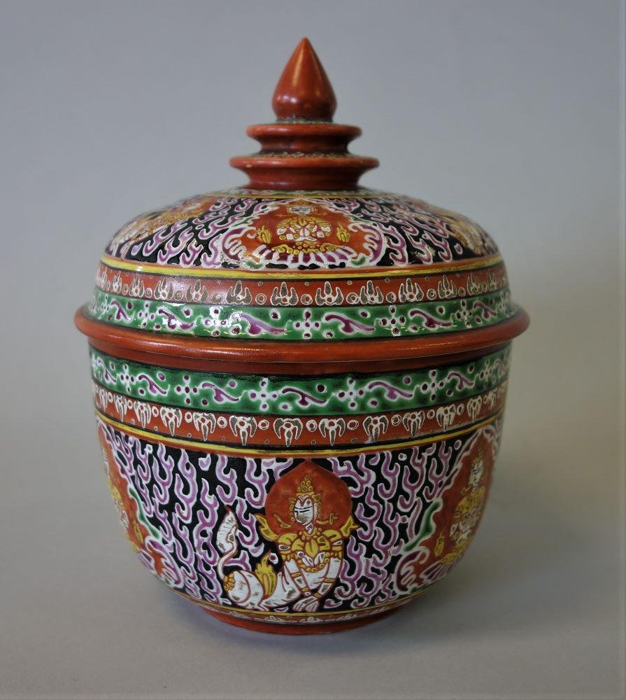 Thai Benjarong Porcelain Lidded Toh Jar, Norasingh