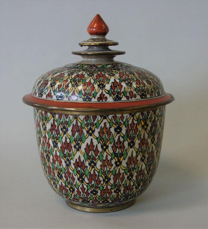 Thai Benjarong Porcelain Lidded Toh Jar