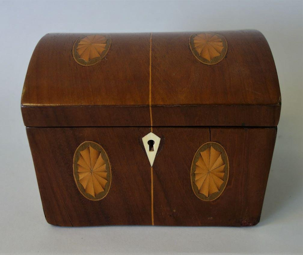 19thc English Dome Top Tea Caddy, Pinwheel Inlay