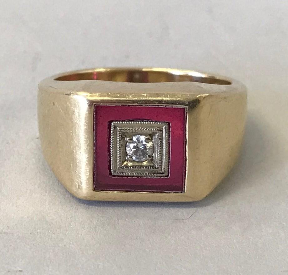 Men's 14K Gold, Diamond & Ruby Ring