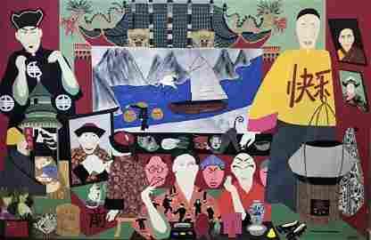 Kit Rank (b-1949) Chinese Opera, Oil / Canvas 1999