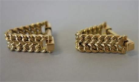 18K Gold Braid Hinged Stirrup Cufflinks