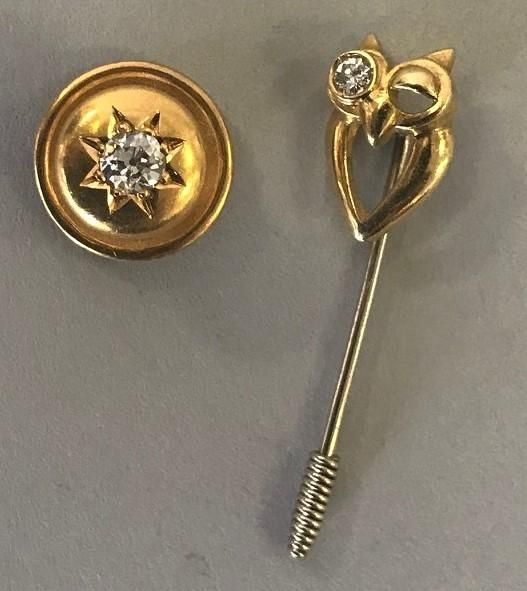 Tiffany & Co Diamond & 18K Gold Stud + Owl Pin