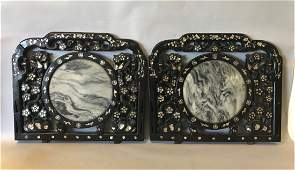 Chinese Rosewood  Marble Chair Backs Pair