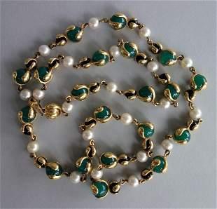Marina B / Bulgari Cardan Perle 18K & Gem Necklace