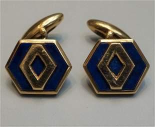 Bulgari 18K Italian Gold & Lapis Lazuli Cufflinks