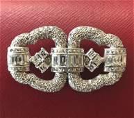 Tiffany & Co Diamond & Platinum Double Clip Brooch