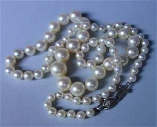 Vintage Cultured Pearl & Diamond Necklace