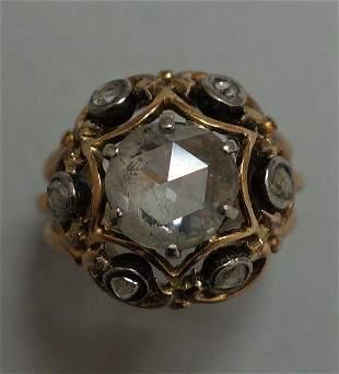 Antique Rose Cut Diamond & 14K Gold Ring, 2.91 Cts
