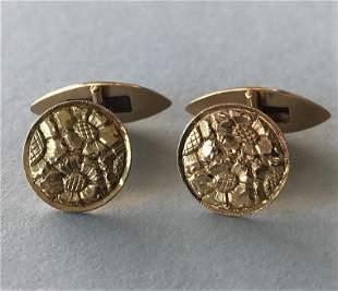 18K Gold Foliate Motif Cufflinks
