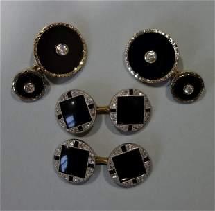 2-Pair Diamond & Onyx 18K & 14K Gold Cufflinks