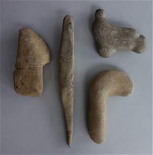 Native American Stone Axe Head, Chisel + Tools