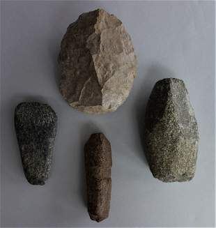 4 Carved Stone Tools, Axe Head, Grinding Tool +