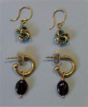 2-Pair 18K Gold Earrings with Gemstones