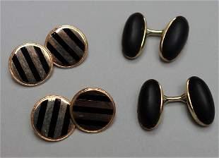 2-Pair 14K Gold, Enamel & Onyx Cufflinks