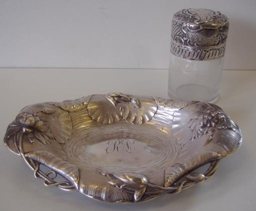 1: Durgin Sterling Dish & Powder Jar